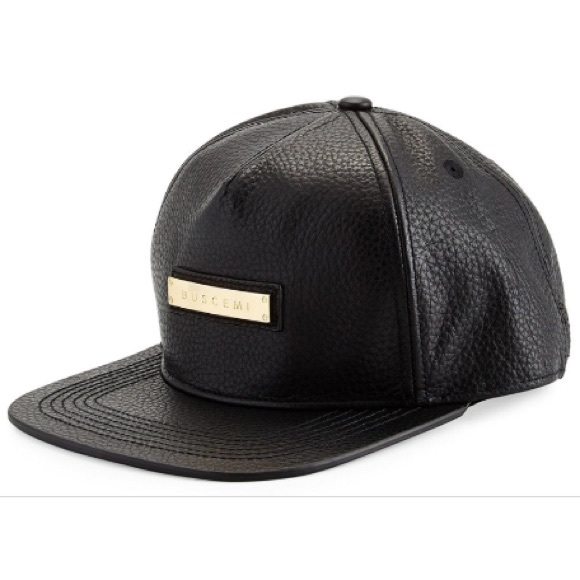 a33c5bd591b Men s Buscemi Black Leather Screwback Cap. M 5b1eeba07386bcbbfafc0443